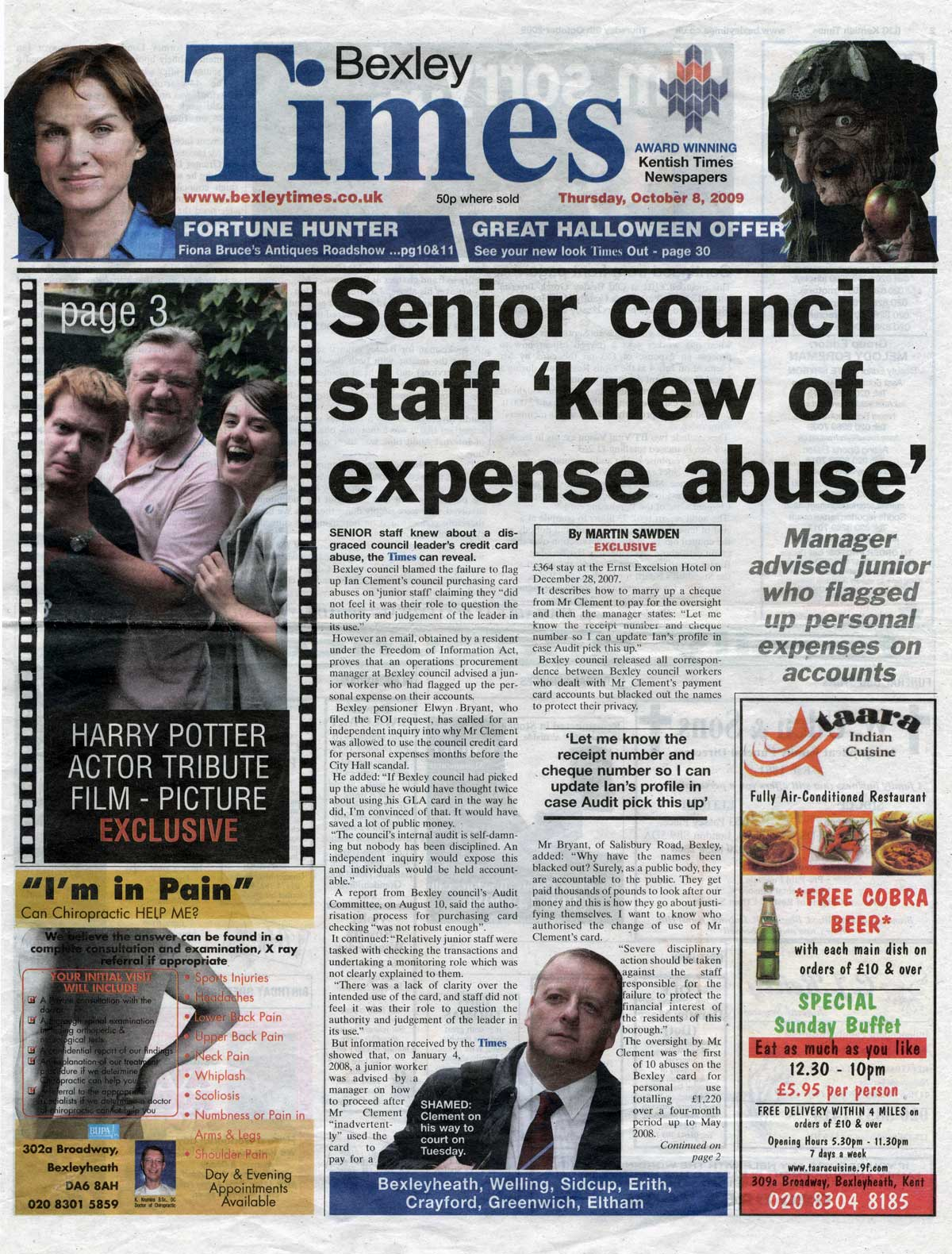 Bexley Times, 6 October 2009, page 1