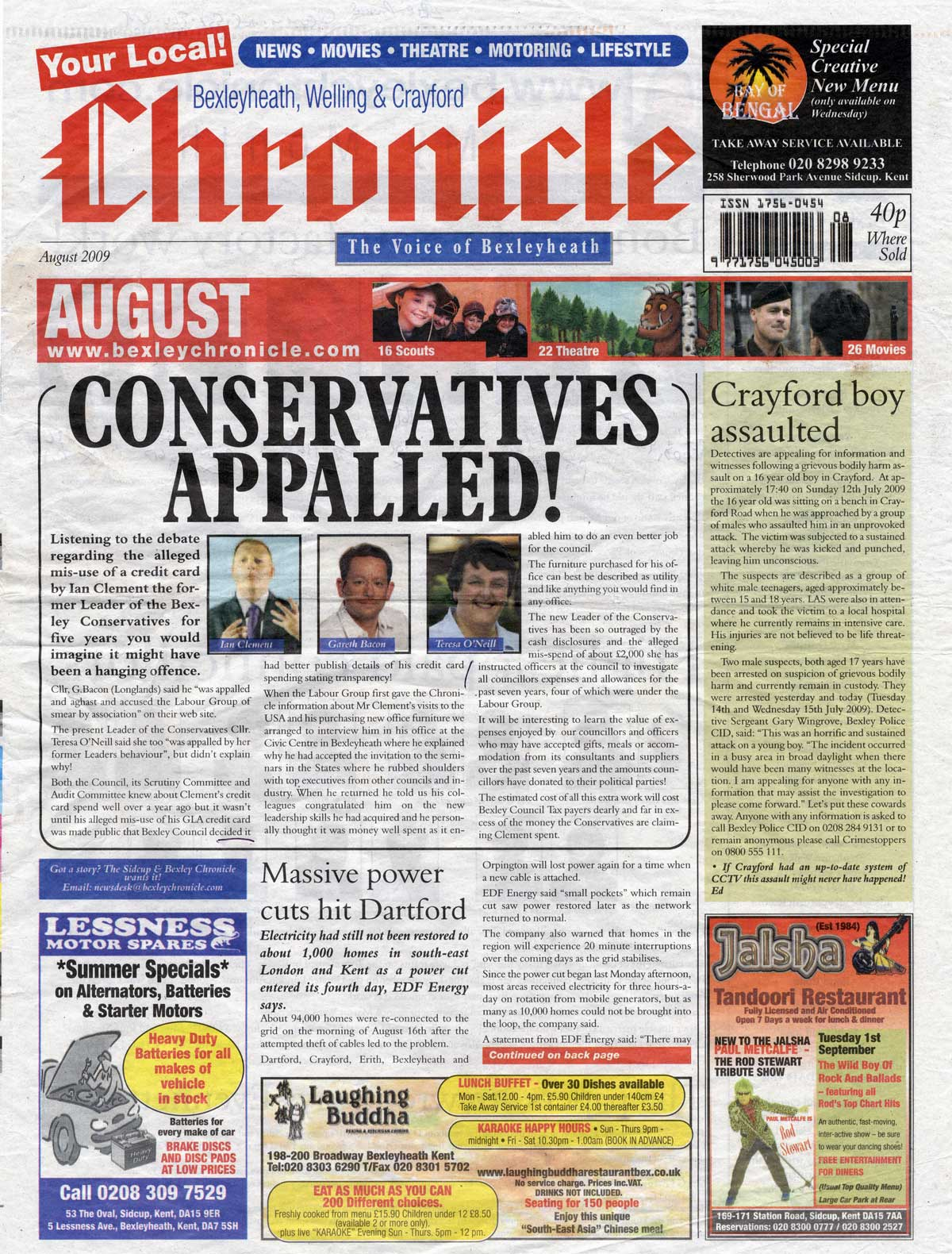 Bexleyheath Chronicle, August 2009, page 1